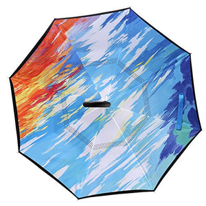 NewSight UV Protection Reverse Umbrella - Double Layer Inverted Umbrella, Self-Standing & C Shape Handle To Free Hand, Inside Out Fold & Unfold, Water Repellent & Windproof, Sleeve/Bag Attached