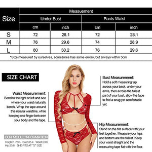 Womens Sexy Lacy Caged Nightwear Long Sleeve two Pieces Lingerie Set