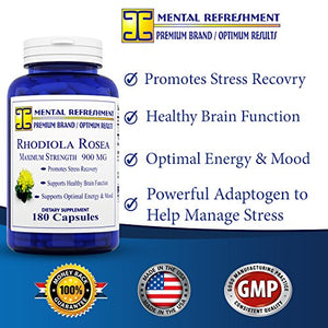 SHIP BY USPS: Rhodiola Rosea - 900mg - 180 Capsules - Stress Relief, Natural Energy, Brain...