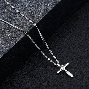 "SHIP BY USPS: Rhodium Plated Three Cubic Zirconia Stone Cross Pendant Necklace Christian Religious Jewelry, 20"" Chain"