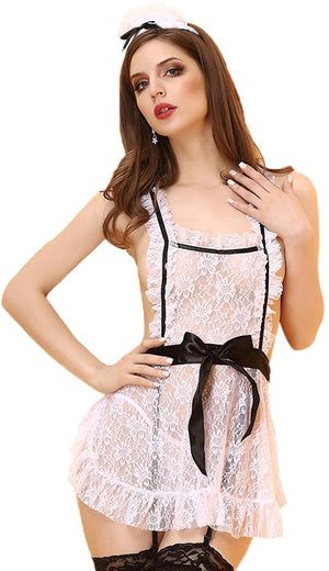 Lace See Through Sexy Lingerie Maid Uniform Apron Fancy Dress Costume