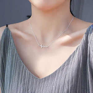 SHIP BY USPS:  Sideways Cross Necklace,Rose Gold or Silver,16.5-18.5 inch