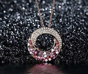 "[Presented by Miss New York] Leafael ""Twin Moons"" Made with Swarovski Crystals Multi-Stone Twisted Circle Pendant Necklace, 18K Rose Gold Plated, 18""+2"", Nickel/Lead/Allergy Free, Luxury Gift Box"