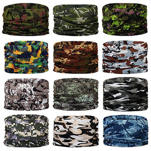 Headwear,Head Wrap, Neck Gaiter, Headband, Fishing Mask, Magic Scarf, Tube Mask, Face Bandana Mask, Neck Balaclava and Sport Scarf 12 in 1 Headband Sweatband for Fishing, Hiking, Running, Motorcycling