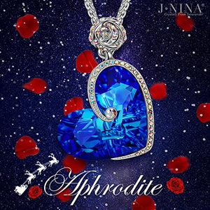 Rose Heart Necklace ♥Gifts Women on Christmas♥ Aphrodite Jewelry Exquisite Package 17''+2'', Crystals from Swarovski, Engraved I Love You