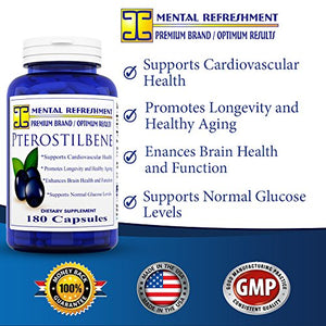 SHIP BY USPS: Pterostilbene - 150 mg, 180 capsules (1 Bottle) Supports Cardiovascular Health