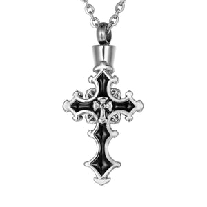 Valyria Cross Cremation Jewelry - Cremation Ashes Urn Pendant Memorial Necklace