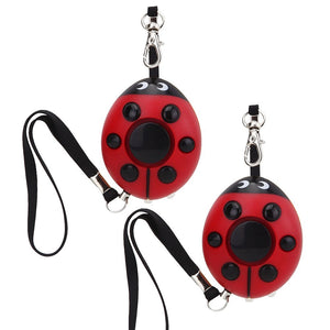 [2 Pack] Personal Alarm for Elderly, Women, Kids Pack of 2 Odowalker 130dB Siren Ladybug Personal Safety Alarm Self Defense Electronic Device Emergency Survival Bag Decor with Keychain & Flashlight