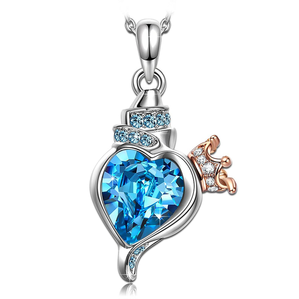 """Conch Princess"" Heart Jewelry for women, Made with Swarovski Crystals, Woman Pendant Necklace"