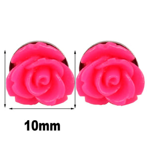 8 Pairs Handcrafted Resin Mixed Colors Simulated Coral Rose Flower Earrings Studs,Stainless Steel 10mm