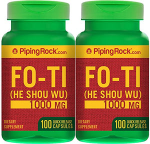 SHIP BY USPS: Piping Rock Fo-Ti Root He-Shou-Wu 1000 mg 2 Bottles x 100 Quick Release Capsules Dietary Supplement