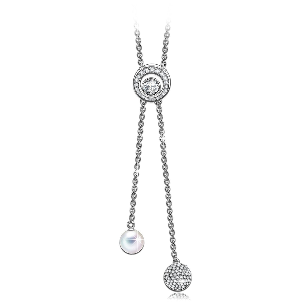 """Carefree Girl"" Circle Elements Sweater Necklace, Clear Crystals from Swarovski & Crystal Pearl, Y-shaped Woman Chain"