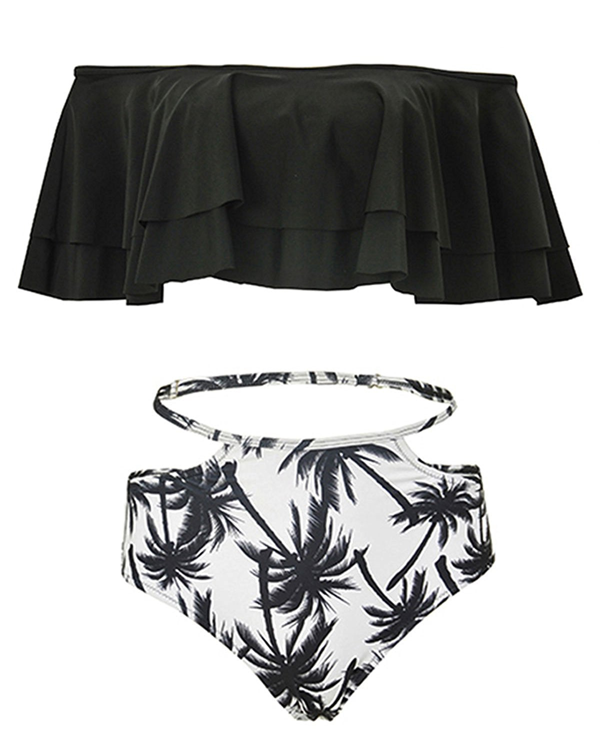 506ebd4a269 ... Women Two Piece Off Shoulder Ruffled Flounce Crop Bikini Top With Print  Cut Out Bottoms ...
