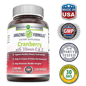 SHIP BY USPS: Amazing Formulas - Cranberry with Vitamin C & E Dietary Supplement - 8,400 Milligrams - 250 Softgels -...
