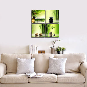 Modern 4 Panel Stretched and Framed Contemporary Zen Giclee Canvas Prints Perfect Bamboo Green Pictures on Canvas Wall Art for Home Office Decorations Living Room Bedroom