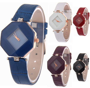 5 Pack Women Ladies Watches Quartz Wristwatch Leather Wholesale Prism Watch