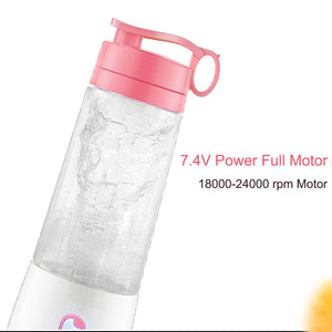 Woocon Personal Portable Blender Bottle,Hand Juicer Cup Suit for Fruit Smoothie Baby Food Picnic,400ml,Rechargeable With Powerbank Function, Self-Stop Protection Upgraded Powerful Motor