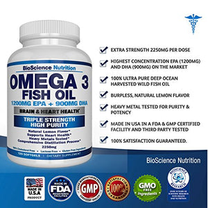 SHIP BY USPS - #1 Best Seller - Omega 3 Fish Oil 2250mg | HIGH EPA 1200MG + DHA 900MG Triple Strength Burpless Capsules | 120 Pills |...