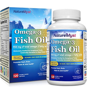SHIP BY USPS NatureMyst Omega 3 Fish Oil, 2500mg per serving, 950mg Omega3s, 120 Enteric Coated Softgels, Burpless