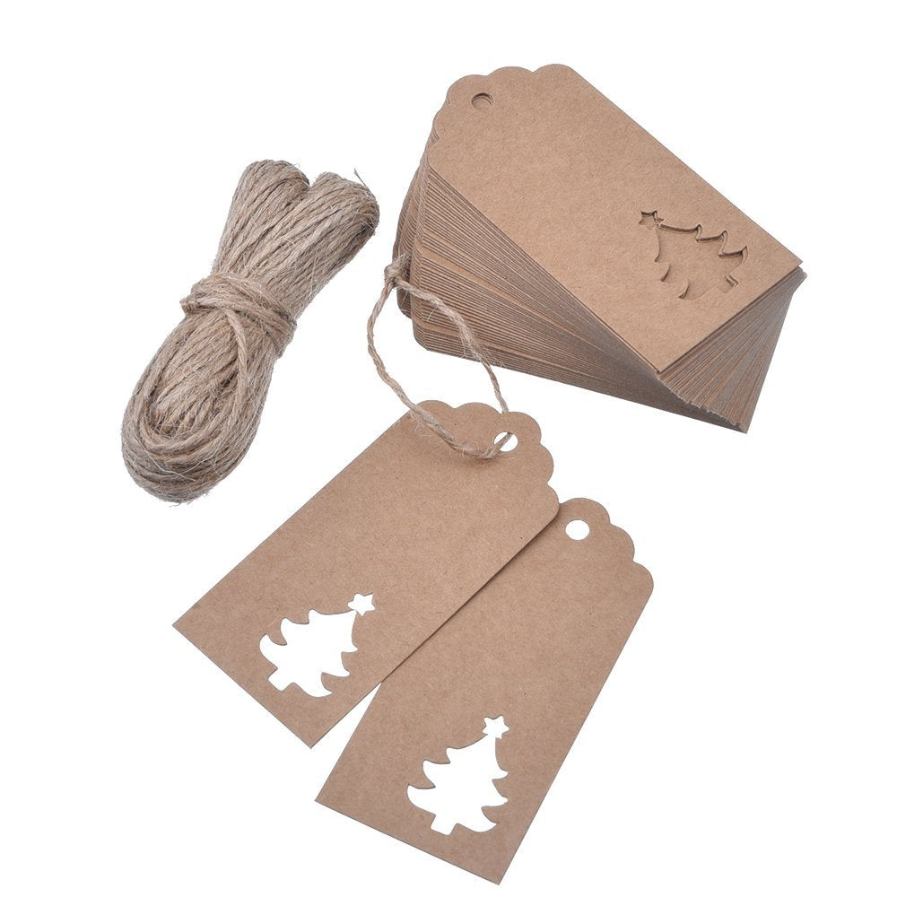 100 Pieces Kraft Paper Gift Tags Hollow Christmas Tree Design with 66 Feet Twines for Wedding Favor Christmas