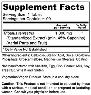 SHIP BY USPS Tribulus 1000 mg 90 Tabs - Powerful Male Enhancement | Muscle Growth | Stamina | Boost Sexual Libido Health | Vitality...
