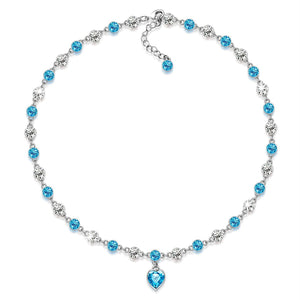 """Angelic Tale"" Aquamarine All-Around Necklace Made with SWAROVSKI Crystals, Collar Necklace, chic heart necklace, birthday gifts anniversary gifts for her, gifts for mom"