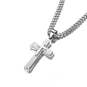 W&W Lifetime Stainless Steel Mens Womens Double Cross Necklace Lord's Prayer Pendant 24 inches