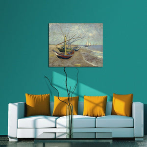 Art - Fishing Boats on the Beach at Les Saintes Maries Large Modern Framed Giclee Canvas Prints of Van Gogh Oil Paintings Seascape Pictures on Canvas Wall Art for Bedroom Kitchen Home Decor