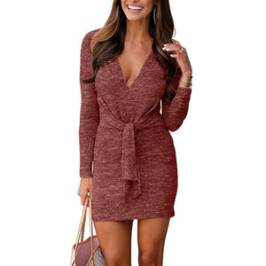 VANCOL Women's Deep V Neck Long Sleeve Tie Front Knit Mini Bodycon Club Dress Plain Party Dress