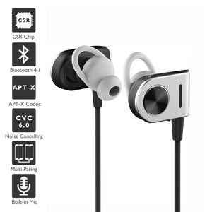 Bluetooth Headphones, IAVCC Wireless Earphones Sports Earbuds with Mic and APT-X, Secure Fit Running, Cycling, Hiking for iPhone 7, 7Plus, Samsung S7 and Other Bluetooth Devices (Black)