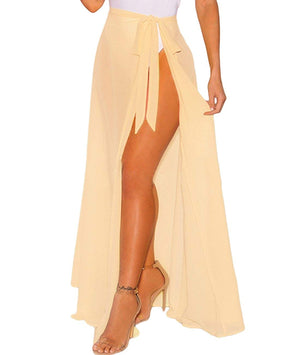 Women's Sheer Slit Sarong Sexy Swimwear Cover up Belted Wrap Maxi Skirt