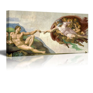 "Creation Of Adam by Michelangelo Giclee Canvas Prints Wrapped Gallery Wall Art | Stretched and Framed Ready to Hang - 24"" x 48"""