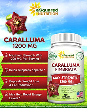 SHIP BY USPS 100% Pure Caralluma Fimbriata 1200mg - 180 Capsules, Natural Extract Weight Loss Diet Pill Supplements, Best...