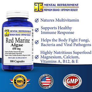 SHIP BY USPS: 100% Pure Red Marine Algae - 450mg, 100 Capsules - Natural Immune Support - Made in USA