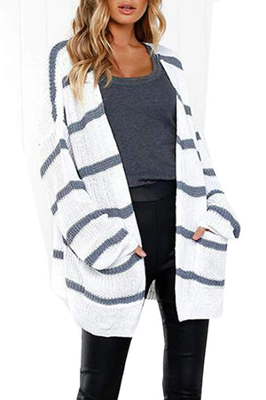 Befily Womens Boho Open Front Long Cardigan Sweaters Casual Loose Striped Pullover Sweater with Pockets