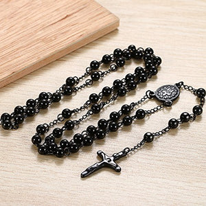 Men's Women's Vintage Stainless Steel 6mm Beads Jesus Christ Crucifix Cross Rosary Pendant Necklace, 30 inch