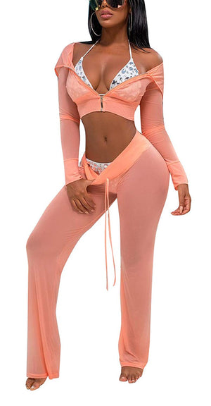 Bluewolfsea Women's Sexy 2 Piece Mesh Swimsuit Bikini Cover Up Hoodie Crop Tops and Pants Set Summer Beach Party Outfits
