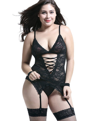 Plus Size Lingerie Sets Stretchy Lace Women Lingerie Chemise Nightwear with Hand-cuff,G-string,stockings