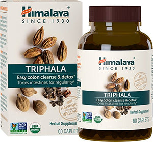 [2 Bottles] Himalaya Organic Triphala 60 Caplets Each for Colon Cleanse 688mg, 4 Month Supply