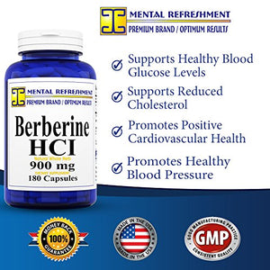 SHIP BY USPS: Berberine 900mg, 180 Capsules (1 Bottle)