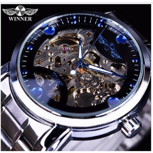 Top Winner Blue Ocean Fashion Casual Designer Stainless Steel Men Skeleton Watch Mens Watches Top Brand Luxury Automatic Watch C
