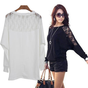 Women's Batwing Long Sleeve Tops Hollow Out Lace Spliced Loose T-Shirt Blouse Black&White M-XXL