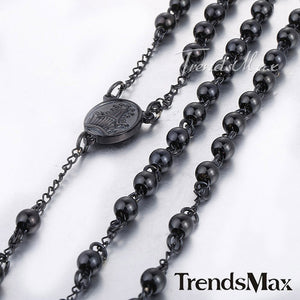 Trendsmax Mens Chain Womens Black Tone Bead Rosary Stainless Steel Cross Pendant Necklace