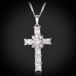 Girls Crystal Pendant Platinum or 18K Gold Plated Chain Fashion Cross Necklace, Pink Cubic Zirconia Jewelry Religious