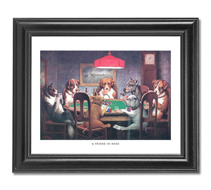 Dogs Playing Poker At Table #1 Wall Picture Framed Art Print