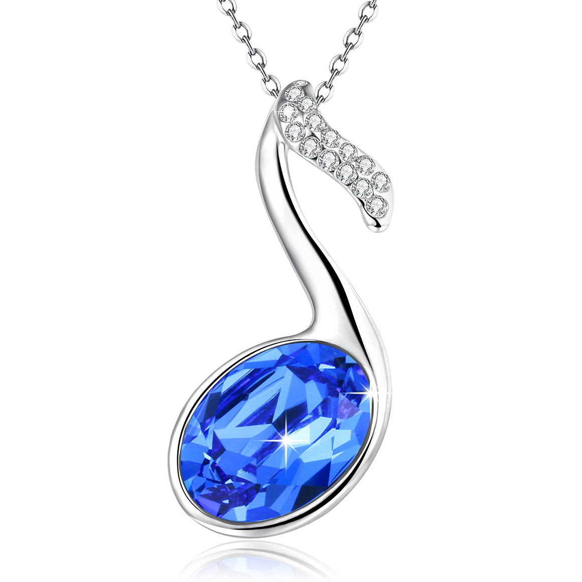 """ Summer Waltz"" Music Note Pendant Necklace,Blue Crystal from Swarovski,Gift for women birthday"