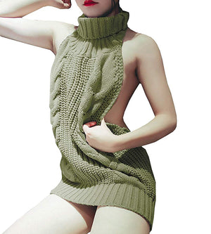 Olens Japan Style Turtleneck Sleeveless Open Back Sweater Anime Cosplay Sweater