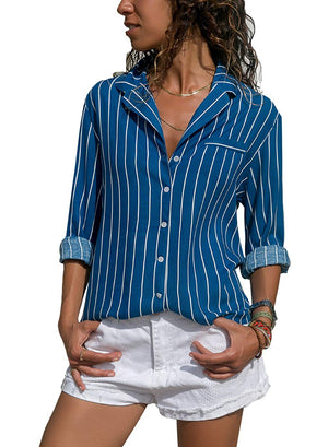 HUUSA Womens Casual V Neck Striped Button Down Long Sleeve Shirts Chiffon Blouses Tops…