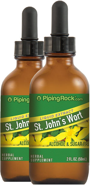 St. John's Wort Liquid Extract 2 Dropper Bottles x 2 fl oz (59 mL) Alcohol & Sugar Free Herbal Supplement