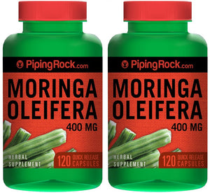 Moringa Oleifera 400 mg 2 Bottles x 120 Quick Release Capsules Herbal Supplement